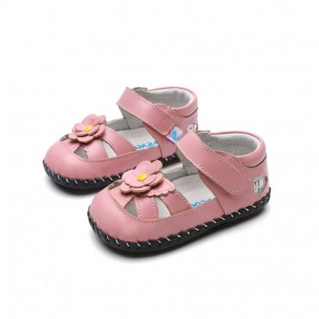 Sandálky Freycoo s koženou podrážkou Jasmina ružové