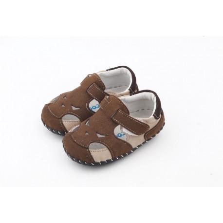 Sandálky Freycoo s koženou podrážkou Kevin - hnedé